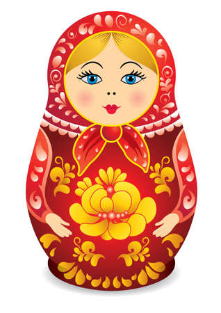 Drawing of a Matryoshka in red and yellow color. Matryoshka doll also known as a Russian nesting doll, Stacking dolls, or Russian doll, is a set of wooden dolls of decreasing size placed one inside another. Illustration
