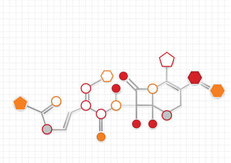 Example of chemical formula represented with circles, pentagons and hegagons of orange and gray color connected with thick gray lines on a white background with lines forming a grid. Vector image