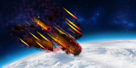 3D model of Chinas Tiangong-1 space station disintegrating upon entering the Earths atmosphere. 3D rendering