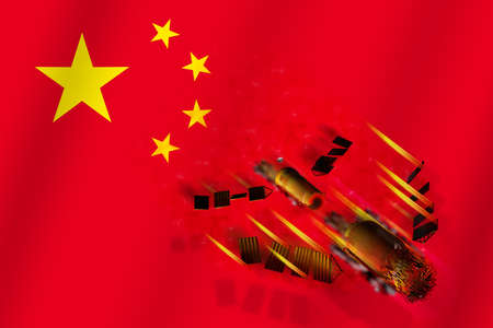 3D model of Chinas Tiangong-1 space station disintegrating upon entering the Earths atmosphere with the flag of China in the background. 3D rendering