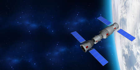 3D model of Chinas Tiangong-1 space station orbiting the planet Earth. 3D rendering