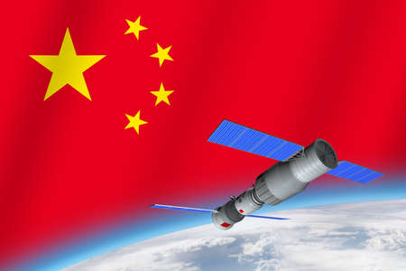 3D model of Chinas Tiangong-1 space station orbiting the planet Earth with the flag of China in the background. 3D rendering