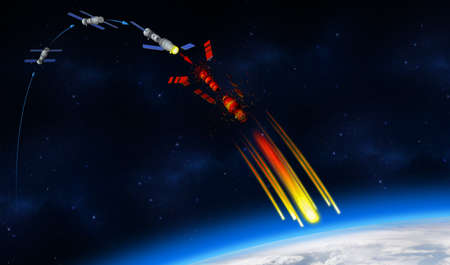 3D illustration of the fall of the Chinas Tiangong-1 space station on the planet Earth. Infographic of how the Chinese space station is disintegrating. 3D rendering