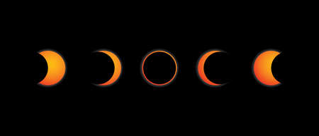 Sequence in 5 steps of an solar annular eclipse on black background vector image.