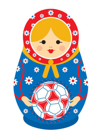 Drawing of a Matryoshka in red and blue holding a soccer ball in her hands. Matryoshka doll also known as a Russian nesting doll is a set of wooden dolls of decreasing size placed one inside another