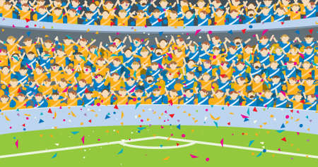 Background of people jumping in the grandstands of a stadium dressed in blue and yellow shirts with confetti falling on the soccer field. Vector illustration