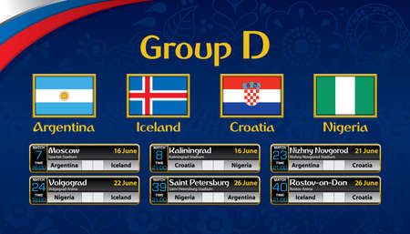 Russia soccer tournament calendar. Group D with the flag of each country. Illustration