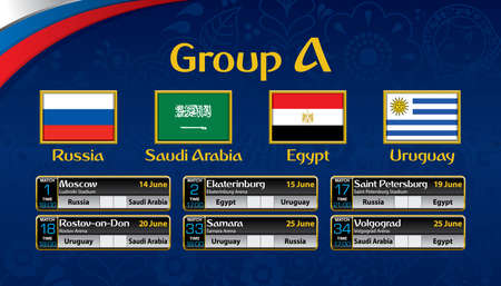 Russia soccer tournament calendar. Group A with the flag of each country.