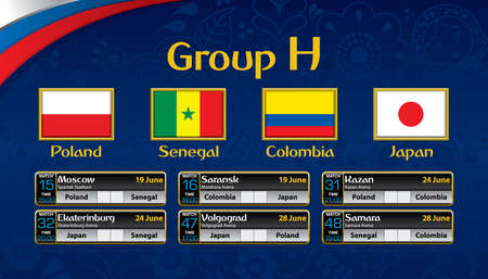 Russia soccer tournament calendar. Group H with the flag of each country.