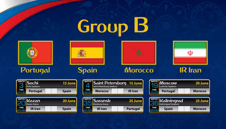 Russia soccer tournament calendar. Group B with the flag of each country.