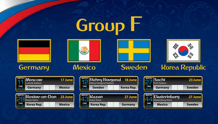 Russia soccer tournament calendar. Group F with the flag of each country.