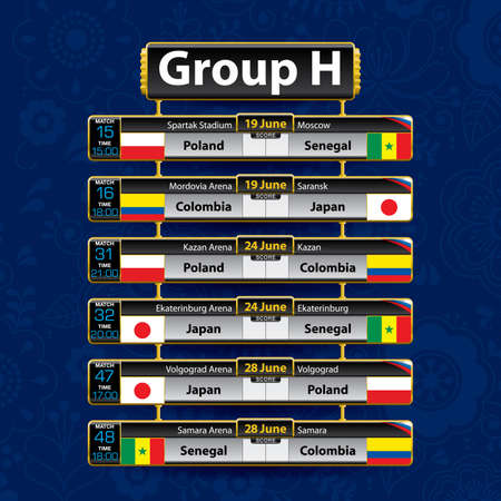 Russia soccer tournament calendar. Group H with the flag of each country. Schedule table with date, time, city location and soccer match result on blue background. Vector image