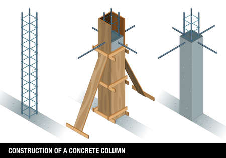 CONSTRUCTION OF A CONCRETE COLUMN. The graph shows a column of concrete before and after the wooden formwork on a white background. Vector image Illustration