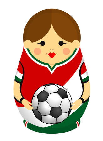 Drawing of a Matryoshka with colors of the flag of Mexico holding a soccer ball in her hands. Russian nesting doll in red, white and green. Vector image Standard-Bild - 103543864