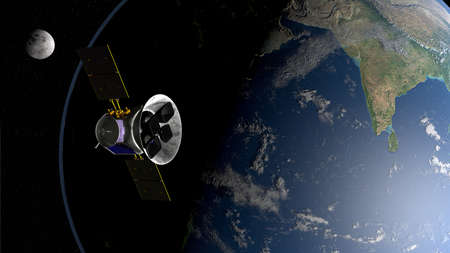 Transiting Exoplanet Survey Satellite space telescope in orbit of planet Earth with moon in background. 3D illustration