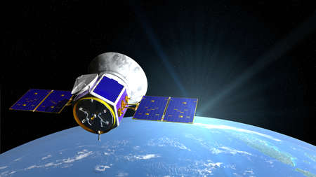 Transiting Exoplanet Survey Satellite space telescope in orbit of planet Earth with stars in background. 3D illustration Stok Fotoğraf