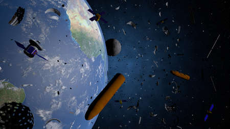 Space debris floating in the orbit of planet Earth. Old satellites, rockets of support, pieces of metal are a threat because they can collide with the new satellites. 3D illustration Stock Photo