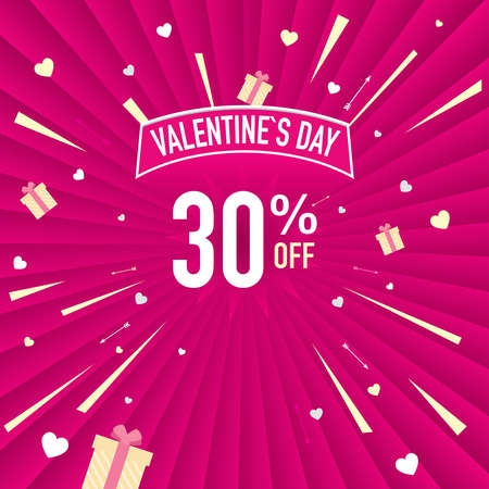 Promotional banner of 30% discount for Valentines Day. White letters on a pink background with hearts. Vector image