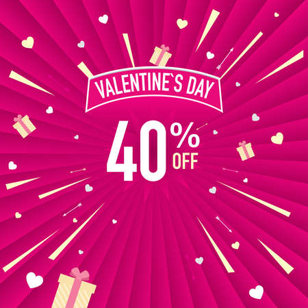 Promotional banner of 40% discount for Valentines Day. White letters on a pink background with hearts. Vector image Illustration