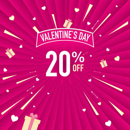 Promotional banner of 20% discount for Valentines Day. White letters on a pink background with hearts. Vector image