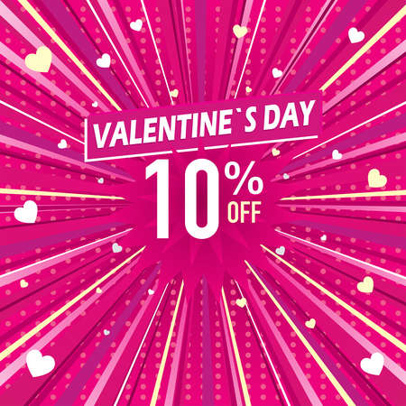 Promotional banner of 10% discount for Valentine's Day. White letters on a pink background with hearts. Vector image