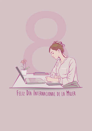 Greeting Card of DIA INTERNATIONAL DE LA MUJER - INTERNATIONAL WOMEN S DAY in Spanish language. Sketch of sitting female office worker writing in her notebook in front of her computer on pink background with copy space. Vector image