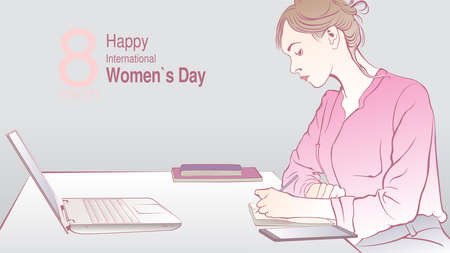 Greeting Card of INTERNATIONAL WOMEN S DAY. Sketch of sitting female office worker writing in her notebook in front of her computer on gray background with copy space. Vector image