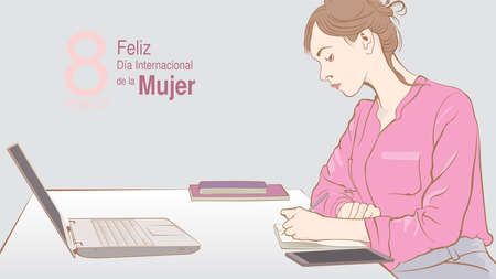 Greeting Card of DIA INTERNATIONAL DE LA MUJER - INTERNATIONAL WOMEN S DAY in Spanish language. Sketch of sitting female office worker writing in her notebook in front of her computer on gray background with copy space. Vector image