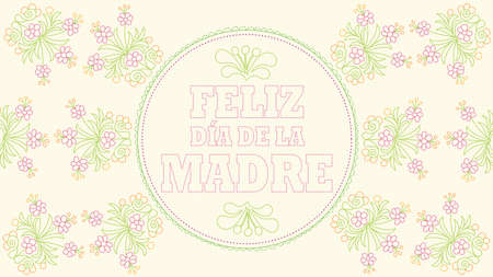 Feliz Dia de la Madre - Happy Mothers Day in Spanish language - Greeting Card. Embroidered message on a pastel yellow fabric inside a circular border with drawings of flowers embroidered in red and green. Vector image