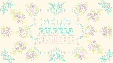 Feliz Dia de la Madre - Happy Mothers Day in Spanish language - Greeting Card.Embroidered message on a pastel yellow fabric inside a blue border with drawings of flowers embroidered in green, blue and purple. Vector image