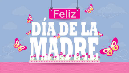 Feliz Dia de la Madre - Happy Mothers Day in Spanish language - Greeting Card. Letters on a magenta flower garden with butterflies flying around on a pastel purple sky with clouds in the background. Vector image