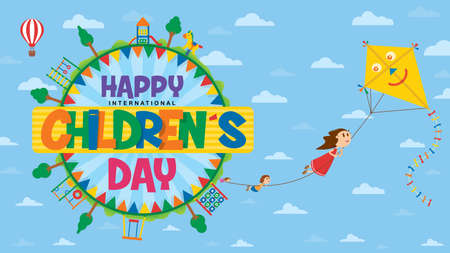 Happy International Children's Day greeting card. Text inside a circle surrounded by playgrounds and trees where children fly flying subject to the rope of a kite with blue sky background with clouds. Vector image Illustration