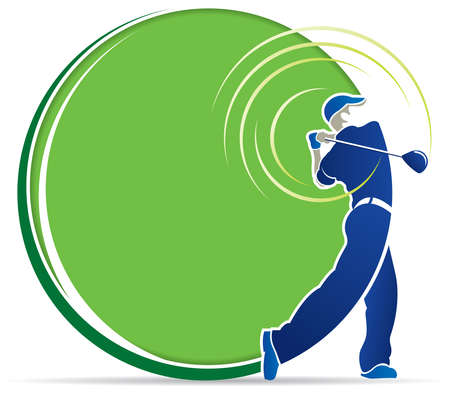 Abstract drawing of a blue man playing golf with lines following the movement of the golf club on a green background in round shape with copy space. Vector image