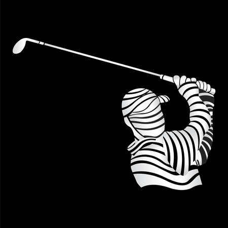 Abstract sketch of the bust of a white man playing golf with a golf club in his hands formed by thick lines on a black background. Vector image