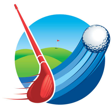 Approach to a red golf club hitting a ball with speed lines with a green golf course with a flag in the hole in the background. Vector image