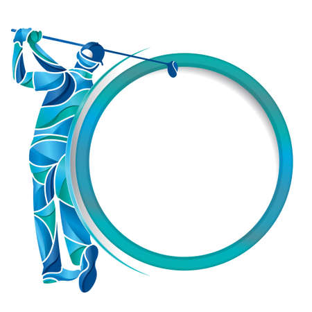Abstract drawing of man playing golf with a golf club in hands formed by pieces of blue, turquoise and light blue on the left side of a round frame with white background. Vector image