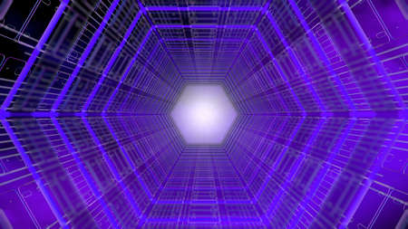 Futuristic background front view of a tunnel with hexagonal shape structure of purple and blue with white light in the background. 3D Illustration