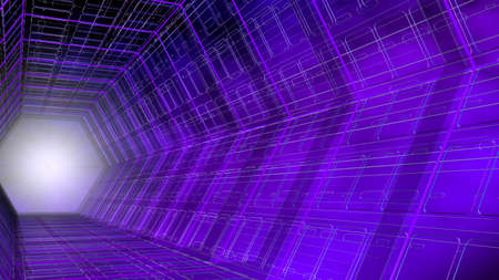 Futuristic background side view of a tunnel with hexagonal shape structure of purple and blue with white light in the background. 3D Illustration