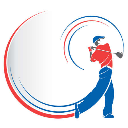 Abstract drawing of a red and blue man playing golf with lines following the movement of the golf club on a white background with speed lines that follow his body. Vector image Illustration