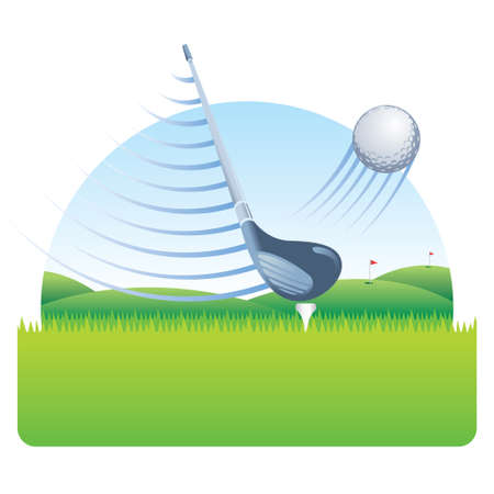 Golf club with speed lines hitting a golf ball with speed lines on a grass field with a golf course with blue sky in the background on white background. Vector image