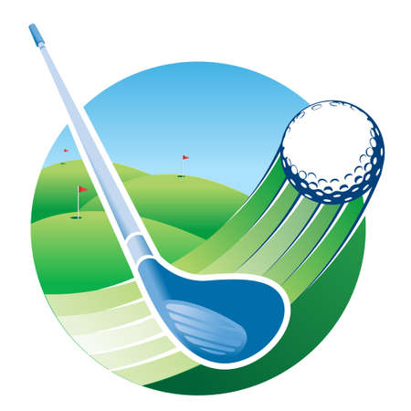 Approach to a blue golf club hitting a ball with speed lines with a green golf course with a flag in the hole in the background. Vector image