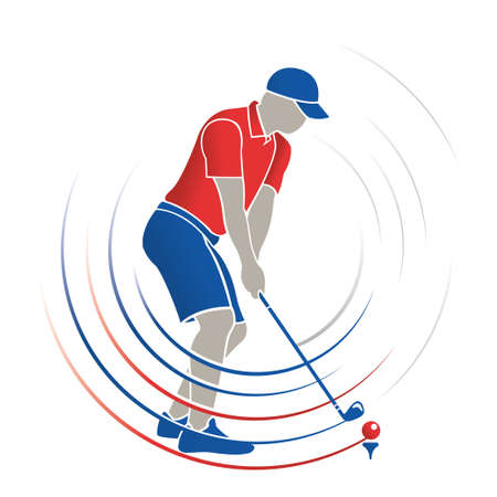 Abstract drawing of man playing golf in red and blue color with a golf club in his hands hitting the ball with red and blue lines following the path of the bat on white background. Vector image