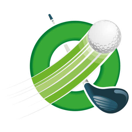 Golf ball flying with speed lines on a green circular hoop with a golf club crossed diagonally on white background. Vector image