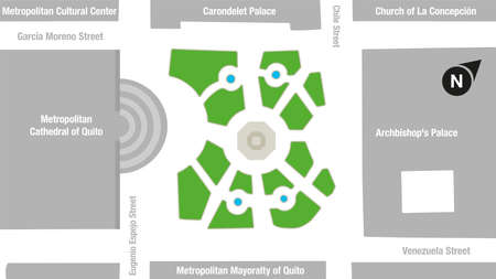 Map of the area of the Independence Square or large square in the historic center of the city of Quito. Vector image Illustration