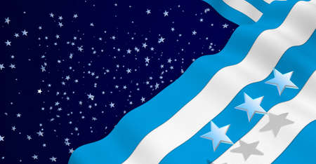 GUAYAQUIL city flag of blue and white color waving on a dark blue background with white stars. 3D Illustration Stock Photo