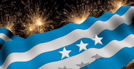 GUAYAQUIL city flag of blue and white color waving on a fireworks with white stars in black background. 3D Illustration