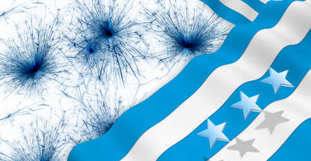 GUAYAQUIL city flag of blue and white color waving on a dark blue fireworks background. 3D Illustration 版權商用圖片