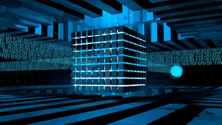 Computer core formed by cubes illuminated with blue light inside a metal structure receiving binary information lines that come out of cables on 4 sides. 3D Illustration