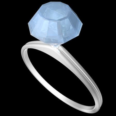 Engagement ring in white gold with a big blue diamond on black background. 3D illustration