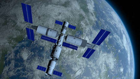 Chinese space station orbiting the planet Earth on black space with stars background. 3D Illustration